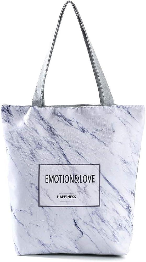 White Creaon Tote Shopping Bag Vintage Printed Marble Pattern Durable Single Shoulder Bag Beach Travel School Bag for Girls