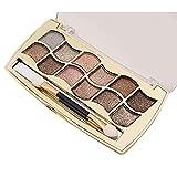 Makeup Set Hosamtel 12 Colors Waterproof Highly Pigmented Natural Longlasting Glitter Eye Shadows Palette+Cosmetic Brush (6#)