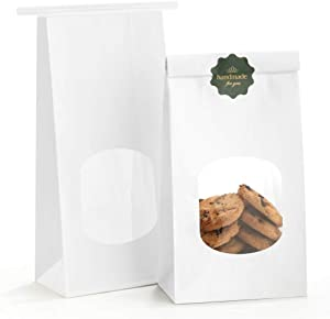 BagDream Bakery Bags with Window Kraft Paper Bags 100Pcs 4.5x2.36x9.6 Inches Tin Tie Tab Lock Bags White Window Bags Cookie Bags, Coffee Bags