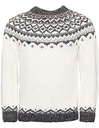 Skjoldur Men's Sweater Hand Knitted Design 100% Icelandic Wool Sweater Without Zipper