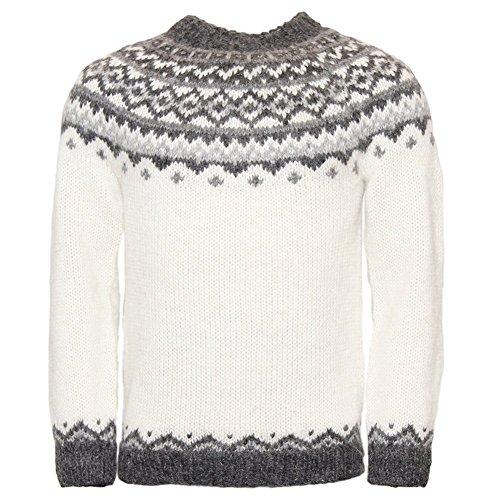 ICEWEAR Skjoldur Men's Sweater Hand Knitted Design 100% Icelandic Wool Sweater Without Zipper   White - XL - Icelandic Sweaters Wool