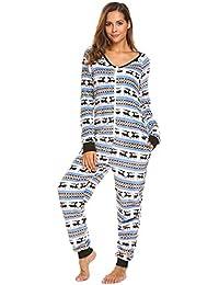 Women's Christmas Jumpsuit Romper Fleece Onesie Pajamas