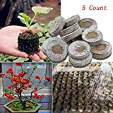 Transer 5 Count Peat Pellets, Seed Starter Soil Plugs Start Seedlings Indoors, Easy to Transplant to Garden (5, Coffee)