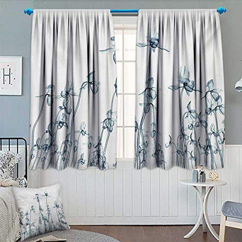 "Flower Room Darkening Curtains X-ray Photo of a Group of Orchids Bottom to Top Rare Unseen Art in Complex Nature Decor Curtains by 63"" W x 63"" L Teal White"