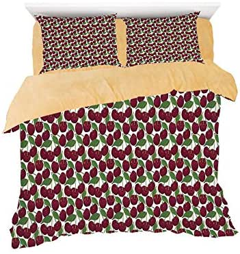 Homenon Cherry Pattern Ripe Fresh Fruit Floral Country Style Natural Gourmet,3D Printed in Flannel Duvet Cover Set,Decorated on a 4ft Bed,4 Piece Bedding Set,Twin Size,Maroon Green White