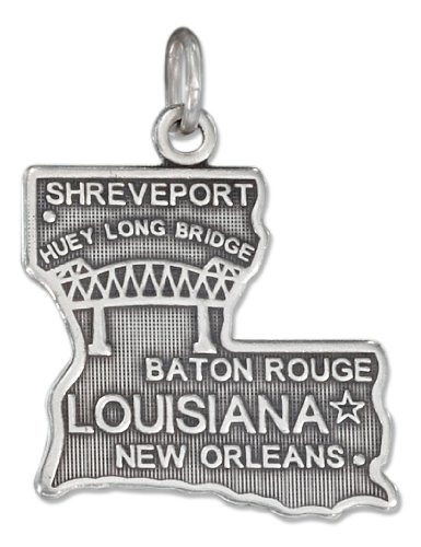 (Sterling Silver Antiqued Louisiana State Charm)
