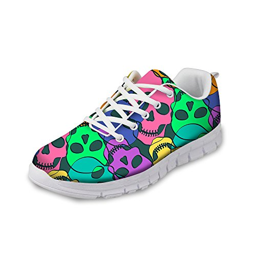 FOR U DESIGNS Cool Skull Print Womens Breathable Light Weight Lace Up Fashion Sneakers Comfortable Running Shoes Purple a C2kQrvA