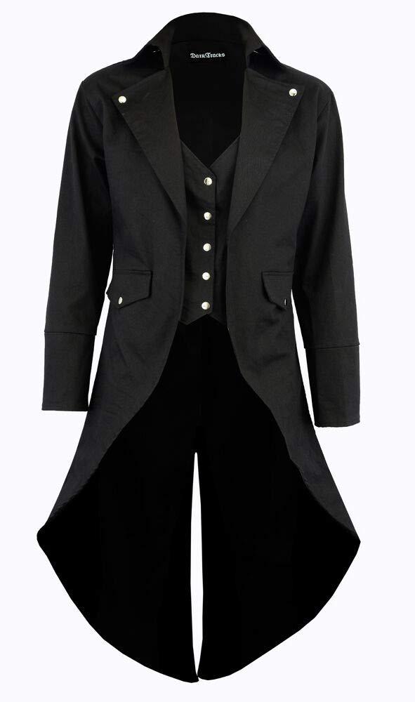 Darkrock Prime Quality Men's Cotton Twill Steampunk Tailcoat Jacket Goth Victorian Coat/Trench (4XL, Black) by Darkrock