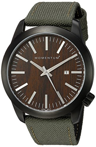 Momentum Men's 'Logic' Quartz Stainless Steel and Canvas Casual Watch, Color:Green (Model: 1M-SP14C6G)