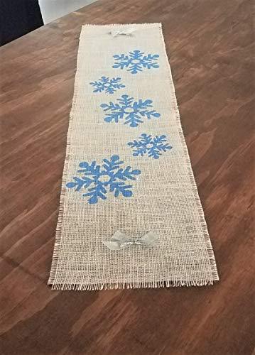 Blue Snowflake Table Runner, Winter Table Runners, Farmhouse Christmas Decor Burlap Christmas Table Runner 32, 48, 54, 60, 72, 84