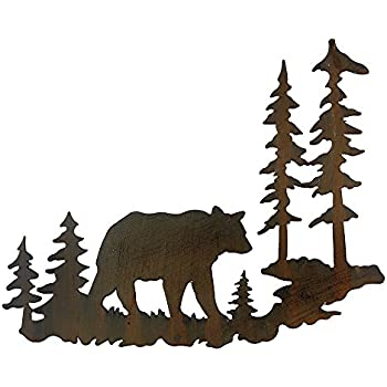 Amazon Com Woodland Bear Metal Lodge Wall Art Cabin