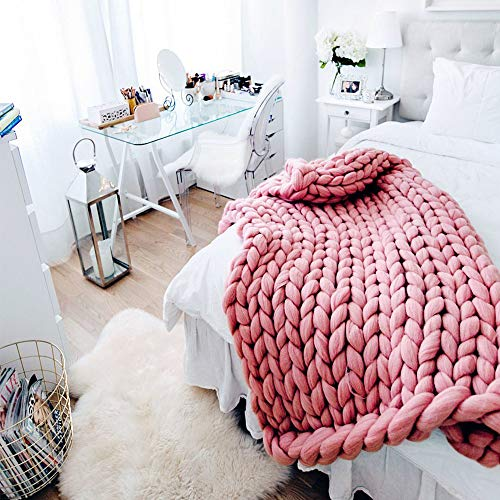 Light Pink Super Chunky Knit Blanket,Arm Knit Blanket,Merino Wool Blanket 59x79in Super Chunky Blanket,Handmade Blanket Bed Couch Sofa Decor by Clisil (Image #3)