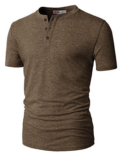 - H2H Mens Casual Slim Fit Raglan Baseball Three-Quarter Sleeve Henley T-Shirts Brown US XL/Asia 2XL (CMTTS0203)