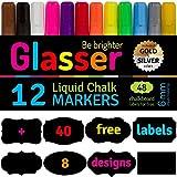 #3: Liquid Chalk Markers Fine Tip (6 mm) Set of 12 & 40 Chalkboard Labels - Fantastic Bright Neon Colors - Chalk Marker for Kids, Artist, Bistro Menu, Glass, Window, Boards - Point or Chisel Tip