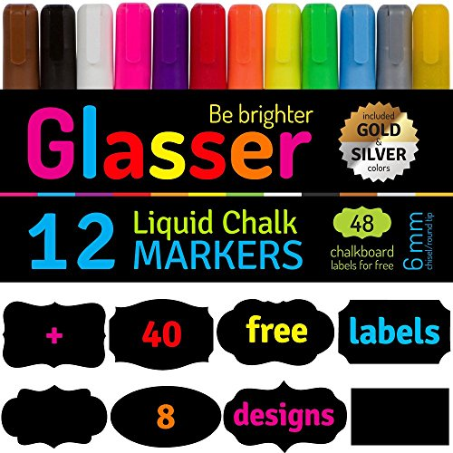 Liquid Chalk Markers Fine Tip (6 mm) Set of 12 & 40 Chalkboard Labels - Fantastic Bright Neon Colors - Chalk Marker for Kids, Artist, Bistro Menu, Glass, Window, Boards - Point or Chisel Tip