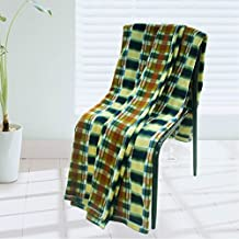 [Trendy Plaids - Blue/Green/Yellow] Soft Coral Fleece Throw Blanket (71 by 79 inches)