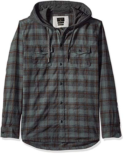 Quiksilver Men's SNAP UP Hooded Button Down Flannel Shirt, Dark Forest, ()