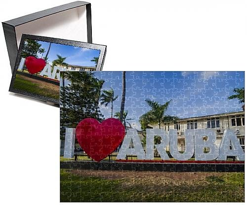 Photo Jigsaw Puzzle of I love aruba sign in downtown Oranjestad, capital of Aruba, ABC Islands (Alphabet Photo Puzzles)