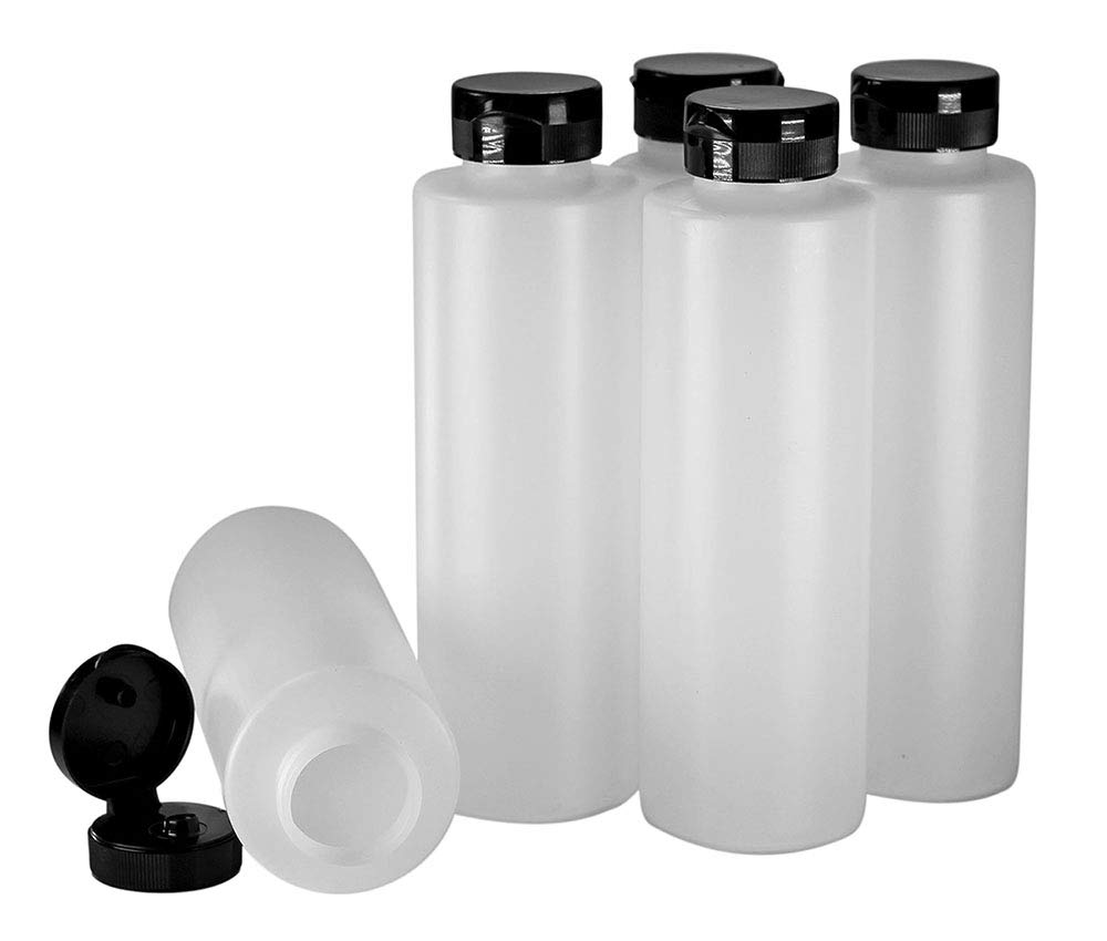 Pinnacle Mercantile Condiment Squeeze Bottles with Flip Top Hinged Black Cap 16 oz Set of 5 (Perfect for Condiments, Sauces, Dressings, BBQ, Ketchup) ... by Pinnacle Mercantile