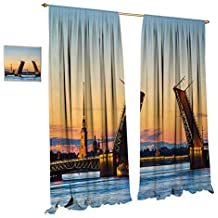Anniutwo Landscape Window Curtain Fabric Palace Bridge with Peter and Paul Fortress St Petersburg White Nights Russia Drapes for Living Room W108 x L84 Orange Blue