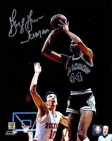George Gervin Signed Autograph San Antonio Spurs 8x10 Photograph Iceman jumpshot vs Rockets