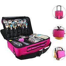 "Relavel Makeup Bags Travel Large Makeup Case 16.5"" Professional Makeup Train Case 2 Layer Cosmetic Bag Makeup Artist Organizer Brush Holder Storage with Shoulder Strap and Dividers (Large Hot Pink)"