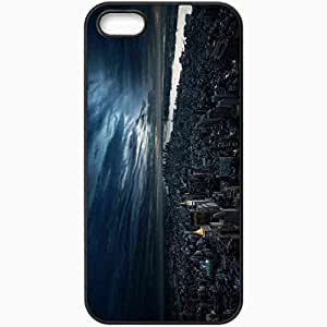 Protective Case Back Cover For iPhone 5 5S Case New York Height Skyscrapers Home Street Black