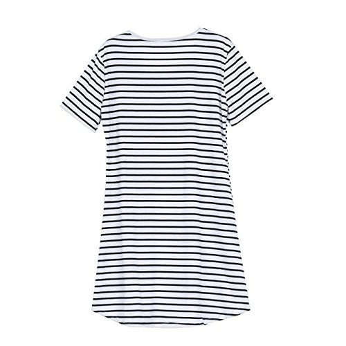 Dresses for Women Work Casual,Summer Dresses for Women,Women's Casual Dresses O-Neck Short Sleeve Striped T-Shirt Dress White by Wugeshangmao Dress (Image #3)
