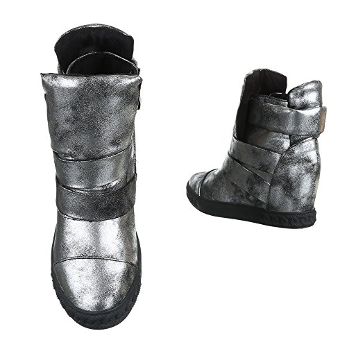 Ital-Design Keilstiefeletten Damenschuhe Keilabsatz/Wedge Keilabsatz Stiefeletten Schwarz Grau