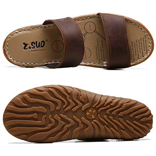Zhaoke Mens PU Leather Slip-on Sandals Beach Summer Walking Shoes Brown Jl4jtYA