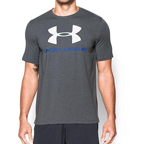 Under Armour Men's Sportstyle Logo T-Shirt, Carbon Heather/Royal, (Logo Carbon)