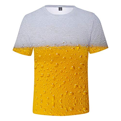 Men's Beer Festival Blouse Tops,MmNote Round Neck Fashion Breathable Cool Quick Classic Fit Short Sleeve Gold