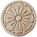 113477, 5-pack, Wood Specialties, Ornamental Carvings, 2-1/4'' Diameter Embossed Onlay Birch