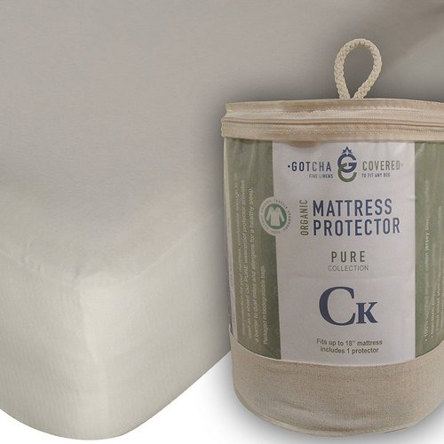 Gotcha Covered PURE Collection SPLIT HEAD KING Size - Organic Cotton Jersey Surface, 100 Percent Waterproof Recycled Polyurethane Barrier Mattress Protectors - Deep Profile Up to 18 in. Natural Color (Organic Mattress Cover Barrier)