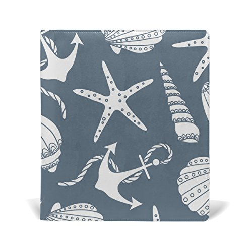 Hardback Cover Shell (BAIHUISHOP Sea Stars Anchors Starfishes And Shells Book Covers Fits upto 9 x 11 Inch Durable Reusable Size Fit for School or Textbook Hardback Books)