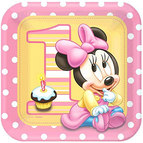 8 Count Minnie's 1st Birthday Square Dinner Plates, Pink - Disney Minnie Dream Party Square Dinner Plates