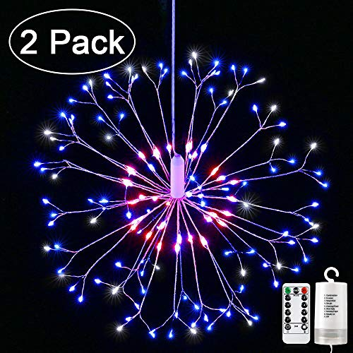 Joomer 2 Pack Firework Silver Wire Lights,198 LED 8 Modes Dimmable String Fairy Lights with Remote Control,Battery Operated Hanging Starburst Lights for Party Home Outdoor Decorate [Red, White, Blue]]()