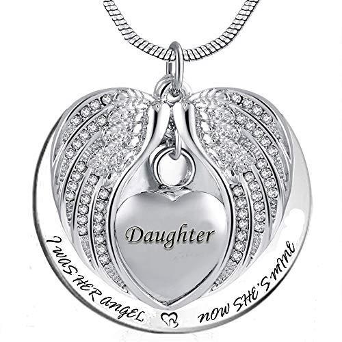 PREKIAR Angel Wing Urn Necklace for Ashes, Heart Cremation Memorial Keepsake Pendant Necklace Jewelry with Fill Kit and Gift Box (Daughter)