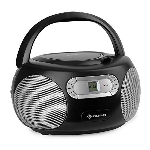 auna Haddaway CD Boombox, CD-speler, Bluetooth, FM-radiotuner, AUX-ingang, LED-display, stroom- / batterijvoeding, zwart