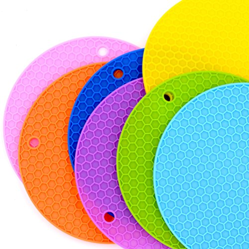 Trivet Mat Silicone Pads [7 Pack] for Holding Hot Pots/Pans and Other Dishes - Essential Kitchen & Cooking/Serving Kit/Set