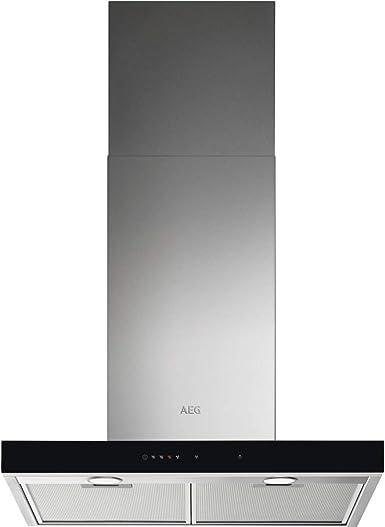 AEG DBE5661HG Campana extractora de pared, 60 cm, 3 niveles de portencia + intensiva, Función Brisa, Potencia máxima 700 m3/h, 54 dB(A), Luces LED, Sincronización automática con placa, Inox,Clase A: Amazon.es: Grandes