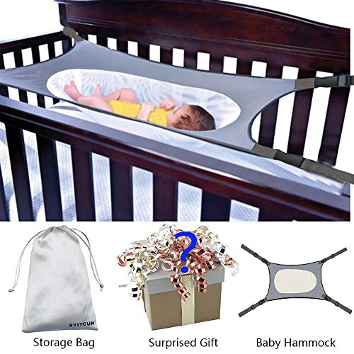 Newborn Baby Hammock for Crib Wombs Bassinet Buckle Strong Oxford Material with Double-Layer Breathable Supportive Mesh 33lbs Capacity Adjustable Straps Absolutely Safe Nursery Bed (Baby Hammock Crib)