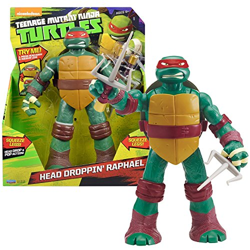 Playmates Year 2014 Teenage Mutant Ninja Turtles TMNT Head Droppin' Series 11 Inch Tall Figure - RAPHAEL with Head Dropping Feature Plus 2 Sais
