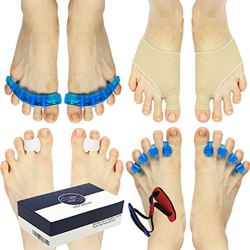 Toe Separators Bunion Corrector TWOCAREONE - Toes Support Spacers Care For Hammertoe Valgus - Orthopedic Foot Relief Sleeve With Cushion For Bunionette Bunions - Splint Stretcher Correct