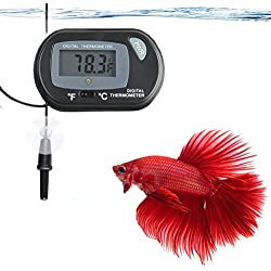 LCD Digital Betta Thermometer by SunGrow - Maintains Betta's Natural Habitat - Protect From Diseases - Easy to Install - Comes with 2 Suction Cups and Battery - Accurately Reads Tank Water Temperature
