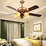 Cheap RainierLight Ceiling Fan 52''Remote Control 5 Wood Reversible Blades/3 Speed/LED Light for Indoor Quiet Energy-Saving Fan