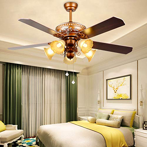 RainierLight Ceiling Fan 52''Remote Control 5 Wood Reversible Blades/3 Speed/LED Light for Indoor Quiet Energy-Saving Fan
