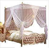 Nattey 4 Corners Bed Curtain Canopy Mosquito Net Canopies for Girls Princess Boy Bed (King, White)