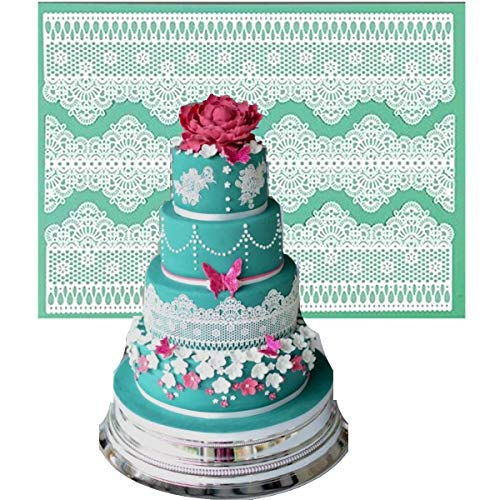 Anyana sugar edible flower wedding lace cake silicone Embossing Mat Texture fondant impression lace mat decorating mold gum paste cupcake topper tool icing candy imprint baking moulds sugarcraft (Best Cake Mix For Fondant Cakes)