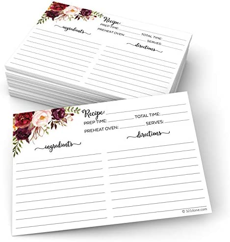 """321Done Floral Recipe Cards (Set of 50) 4"""" x 6"""" - Double-Sided Premium Card Stock - Made in USA - Large Watercolor Red Roses on White Notes From"""